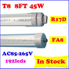 45w 8 foot high out put led bulbs with r17d fa8 ends single pin