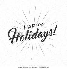 monochrome text happy holidays greeting card stock vector