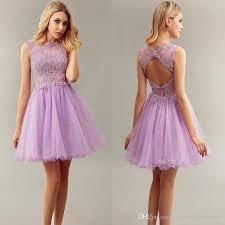 Light Purple Short Bridesmaid Dresses Jewel With Lace Applique
