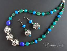 turquoise colored necklace images Buy swan blue jade green turquoise blue german silver necklace set jpg