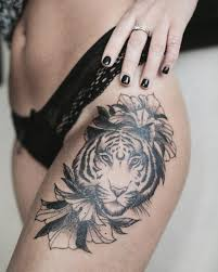 beautiful tiger thigh by dashatattooing tigertattoo