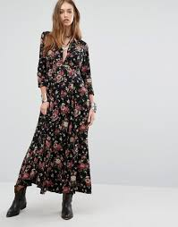 floral boho long sleeve maxi shirt dress by denim u0026 supply by
