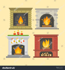 flat style fireplace icon design house stock vector 605109059