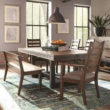industrial dining room table scott living atwater industrial dining set with ladderback chairs