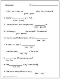 best solutions of homophones worksheets for grade 7 for your