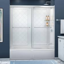 dreamline charisma 56 in 60 in x 60 in semi framed sliding semi framed sliding bypass tub and shower door in chrome and backwall with glass shelves dl 6997 01cl the home depot