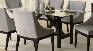 Fine Dining Room Chairs Furniture Glass Top Wooden Base Fine Modern Dining Table Design