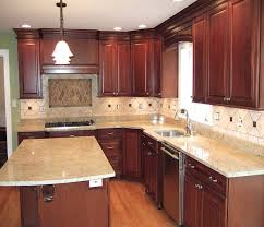 kitchen brown wooden kitchen cabinet and rectangle black granite