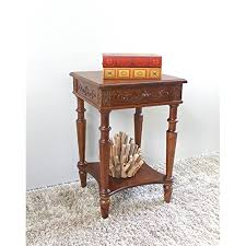 carved wood end table hand carved wood 2tier end table for more information visit