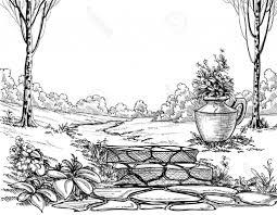 flower garden pencil drawing images pencil drawing flower garden