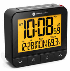 night light alarm clock ambient weather rc 8487 atomic travel compact alarm clock with auto