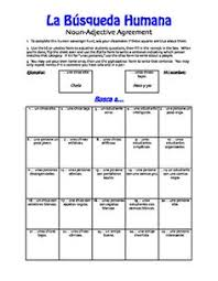worksheet for introductory spanish on noun adjective agreement