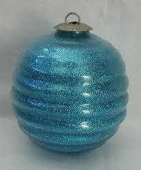 vtg midwest kugel ornament lite blue aqua rib mercury