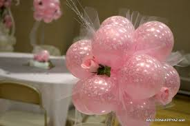 Elegant Balloon Centerpieces by Pink Wedding Balloon Topiary Jpg