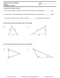worksheet triangle inequality theorem inequalities in triangles