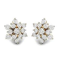diamond stud earrings for women buy candere by kalyan jewellers 18kt yellow gold and diamond stud