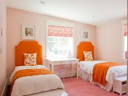 Orange And White Rugs Bedroom Cheerful Twin Girls Bedroom Decoration With Orange Bed