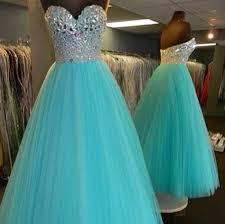 2015 new elegant sweetheart blue prom dresses beaded long
