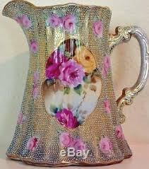 pitcher of roses nippon painted pitcher jug roses beaded gilt enamel antique