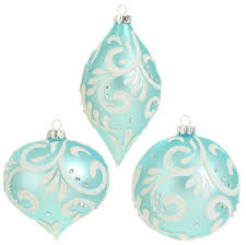 raz blue glass ornaments with white swirl set of 3 shelley b