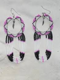 hoop beaded earrings powwow craft series peyote stitch beaded hoop earrings