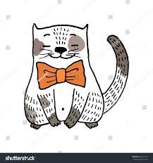 hand drawn cartoon kitten bow tie stock vector 400171168