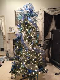 blue and silver decorated christmas tree i made for a co worker