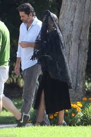 funeral veil gaga spotted attending a funeral on set of american horror