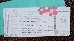 wedding invitations hawaii pink green turquoise swirl hibiscus hawaiian airline ticket