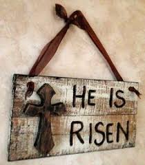 easter religious decorations he has risen primitive easter block sign signs he has risen