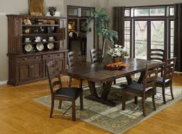 dining room rustic dining table with carved multiple pedestal