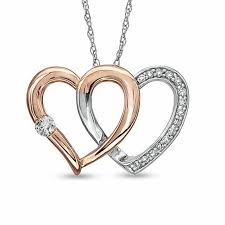 double heart necklace images 1 8 ct t w diamond double heart pendant in 10k two tone gold jpg