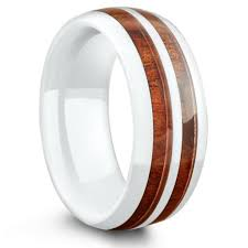 ceramic wedding bands 8mm white ceramic koa wood inlay wedding band center stripe