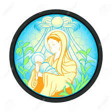 blessed virgin mary with baby jesus in stained glass frame royalty