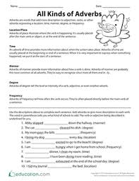 adverbs worksheets education com