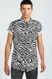 boohoo mens short sleeve zebra print cotton top shirt in white ebay