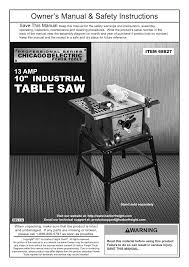 harbor freight tools wordworking 10 in 13 amp benchtop table saw