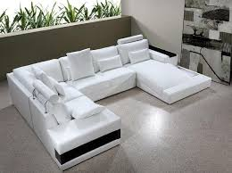 White Leather Sofa Sectional Vig Furniture Modern White Leather Sectional Sofa With Lights