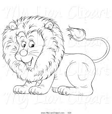 clipart of a coloring page outline design of a cute lion by alex