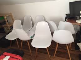 White Plastic Dining Chairs by 8 X Dining Chairs White Plastic Bucket Seat Wooden Legs In Hove