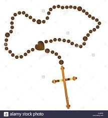 catholic rosary with a golden cross all a white