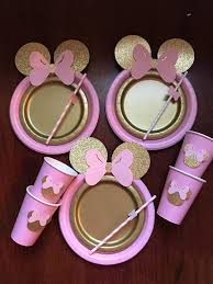 minnie mouse table set 10 light pink gold glitter minnie mouse birthday table set