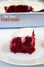 red velvet poke cake with cream cheese frosting gimme delicious