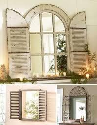 vintage window shutter decor wooden and metal window mirrors