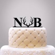 antler cake topper personalized initials with icon cake topper weddings