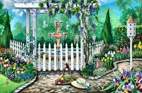 garden gate flowers other garden gate spring flowers birds painting architecture