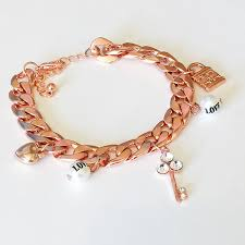 rose gold bracelet charm images Sapphire poppy chain charm bracelet rose gold jpg