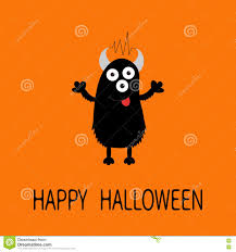 happy halloween cute images happy halloween card black silhouette monster with eyes horns