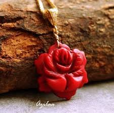 red necklace women images Red rose pendant necklace for women at 2500 azilaa jpg