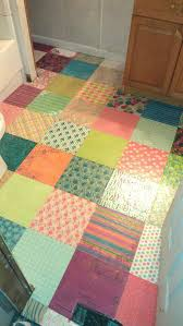 diy bathroom flooring ideas decoupaged scrapbook paper as a floor covering looks great but